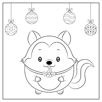 Merry christmas cute squirrel drawing sketch with ornaments