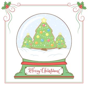 赤いベリーフレームでスノードームを描くメリークリスマスかわいい木
