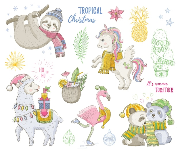 メリークリスマスかわいい熱帯動物、ユニコーン、ナマケモノ、豚、ラマ、フラミンゴ。手描きのトレンディな落書きセット。スケッチクリスマス、明けましておめでとうございます。