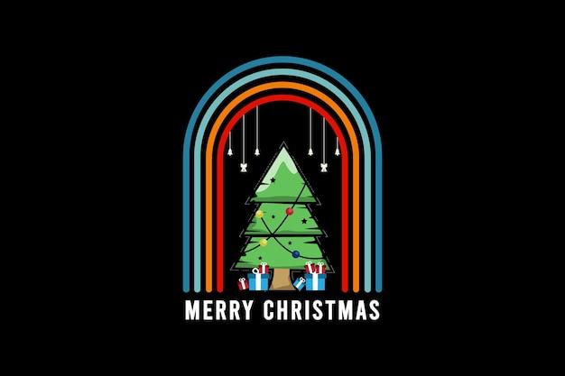 Merry christmas, cypress tree mockup typography