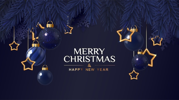 Merry christmas dark blue banner  with golden stars. christmas card. vector illustration.