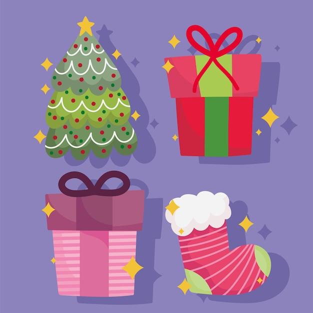 メリークリスマスの装飾とお祝いのアイコンセットイラスト