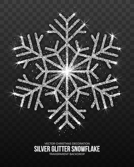 Merry christmas decoration elegant shimmer silver snowflake