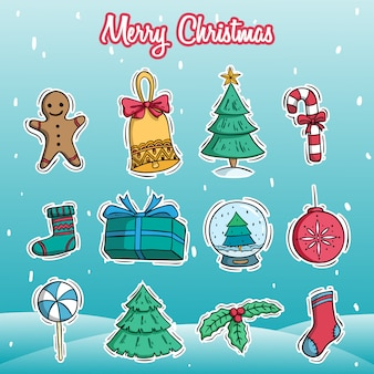 Merry christmas decoration icons set with colored doodle style on snow background
