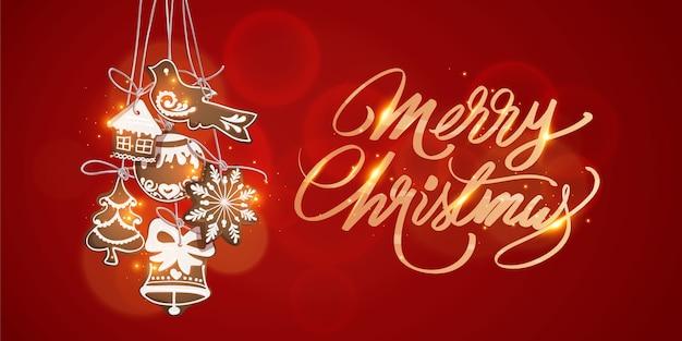 빨간색 배경에서 메리 크리스마스 장식