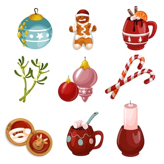 Merry christmas decoration set isolated