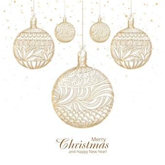 メリークリスマスの装飾的な芸術的なボールの背景