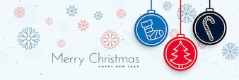 Merry christmas decorative banner with xmas elements