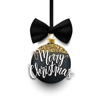 Merry christmas decorative black and gold glitter bauble