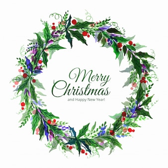 Merry christmas decorative leaf celebration
