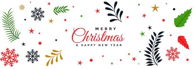 Merry christmas decorative leaves festival banner
