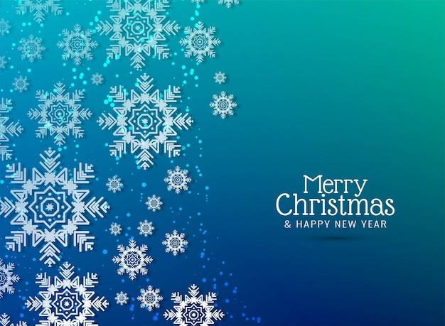 メリークリスマスの装飾的な雪片が背景に落ちる