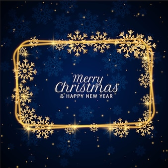 Merry christmas decorative snowflakes frame background