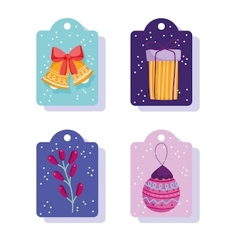 Merry christmas, decorative tags with bells gift ball and branch vector illustration