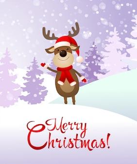 Merry christmas  and deer banner
