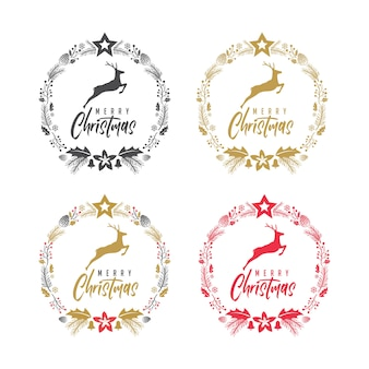 Merry christmas deer elegant rustic