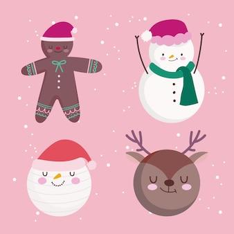 メリークリスマス鹿サンタ雪だるまジンジャーブレッドマン飾り飾り季節イラスト