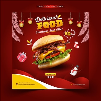 Merry christmas and delicious fastfood offer social media post web banner template
