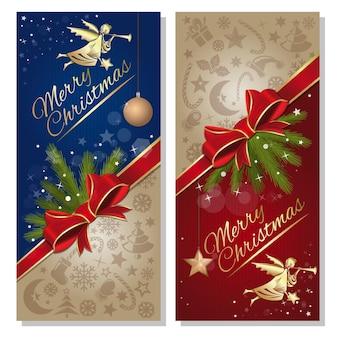 メリークリスマスのデザイン。クリスマスと新年の赤いリボンと弓、天使とデザイン要素とお祝いの赤と青の背景。