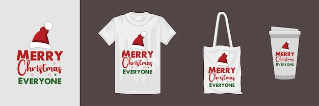 さまざまな服やアクセサリー製品のメリークリスマスデザイン。クリスマスのレタリング引用tシャツのデザイン。