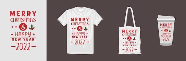 さまざまな服やアクセサリー製品のメリークリスマスデザイン。クリスマスをテーマにしたtシャツのデザイン。