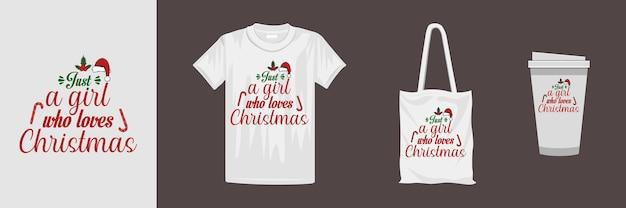 さまざまな服やアクセサリー製品のメリークリスマスデザイン。クリスマスのタイポグラフィデザイン。