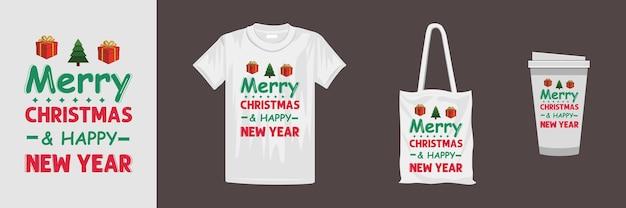 さまざまな服やアクセサリー製品のメリークリスマスデザイン。クリエイティブなクリスマスレタリングtシャツのデザイン。