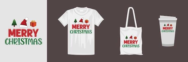 さまざまな服やアクセサリー製品のメリークリスマスデザイン。クリエイティブなクリスマスタイポグラフィtシャツのデザイン。