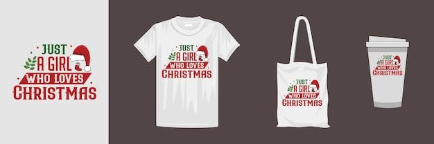 さまざまな服やアクセサリー製品のメリークリスマスデザイン。クリエイティブなタイポグラフィデザイン。