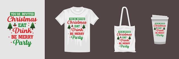 さまざまな服やアクセサリー製品のメリークリスマスデザイン。クリエイティブなタイポグラフィtシャツのデザイン。
