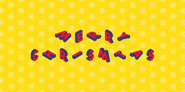 Merry christmas design layout in trendy isometric style on yellow