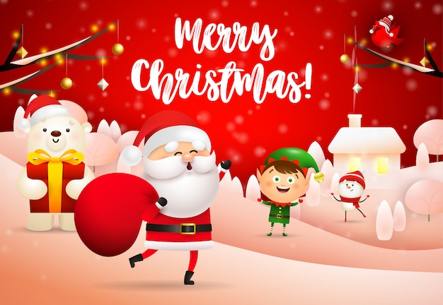 선물 자루와 산타 클로스의 메리 크리스마스 디자인