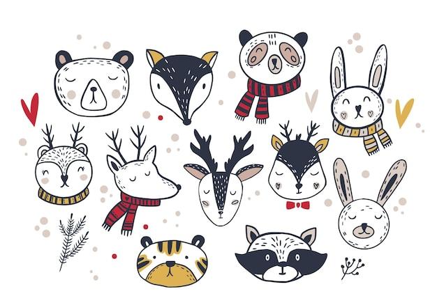 С рождеством христовым набор дизайнов симпатичные ретро-дизайны зимних рождественских персонажей медведь, олень, кролик, лиса