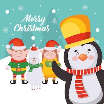 청록색 배경 위에 만화 펭귄과 크리스마스 문자로 메리 크리스마스 디자인.