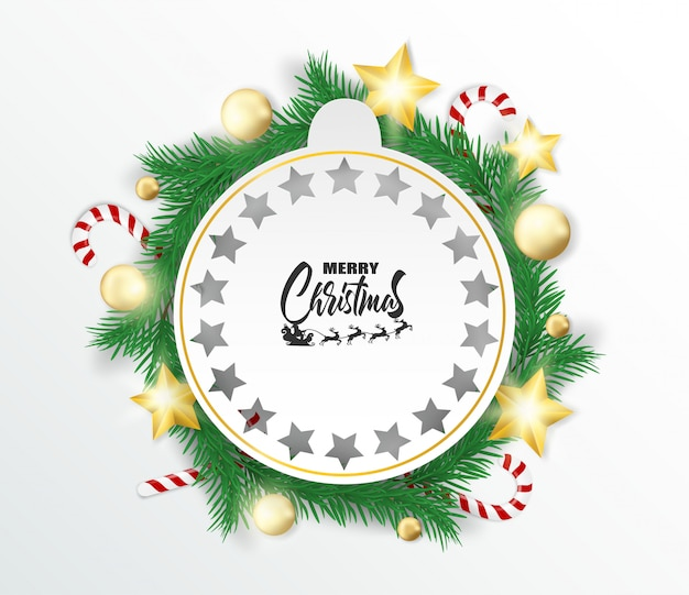 Merry christmas. design with christmas tree , balls ,candy canes and gold stars glowing li
