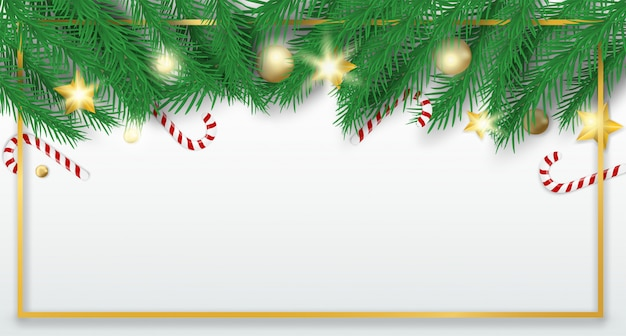Merry christmas. design with christmas tree , balls and candy canes on white background .