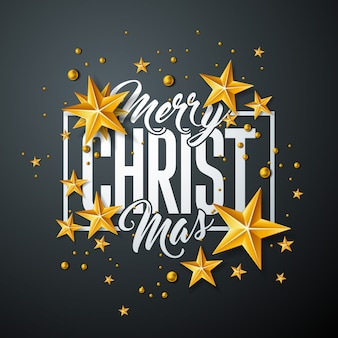 Merry christmas design with gold star and typography design