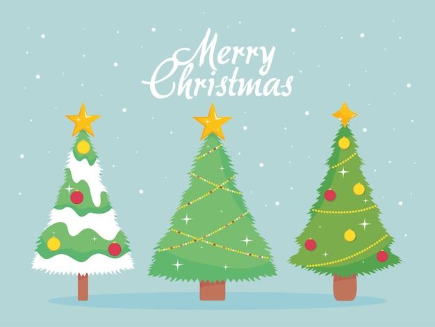 파란색 배경, 화려한 디자인 위에 3 개의 귀여운 크리스마스 나무와 메리 크리스마스 디자인