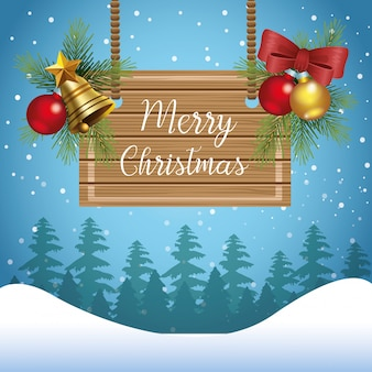 Merry christmas design with wooden board and christmas ornaments