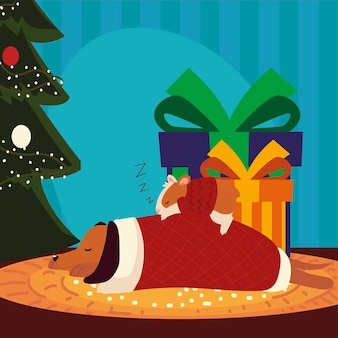 Merry christmas dog and hamster with sweater sleeping next to tree and gifts illustration