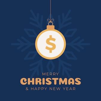 메리 크리스마스 달러 기호 배너입니다. 크리스마스 값싼 물건 공 매달려 인사말 카드로 달러 기호. 크리스마스, 금융, 설날, 은행, 돈에 대 한 벡터 이미지