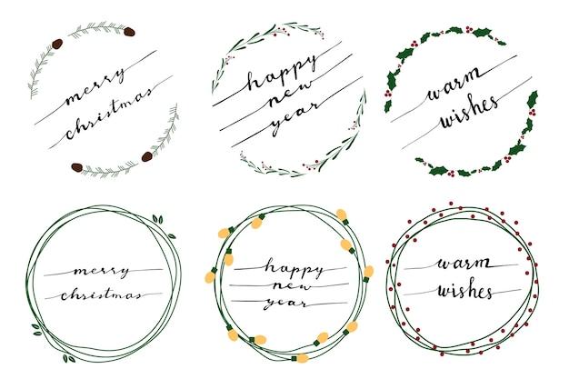 Merry christmas doodle calligraphy flat style wreath