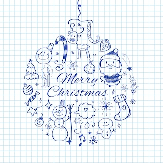 Merry christmas doodle illustration.