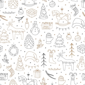 Merry christmas doodle seamless pattern.