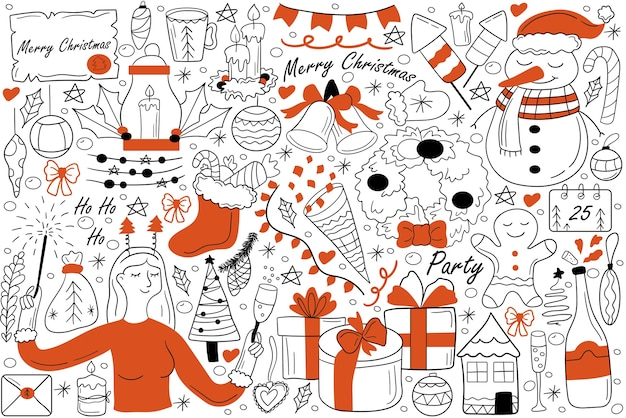 Merry christmas doodle set. collection of hand drawn sketches doodles.