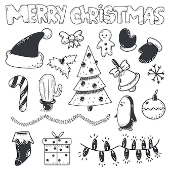 Merry christmas doodle sketch element  set  on a white background.