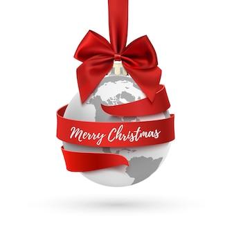 メリークリスマス、赤い弓とリボンの周りに地球のアイコン、白い背景の上の休日の装飾。グリーティングカード、パンフレットまたはポスターテンプレート。