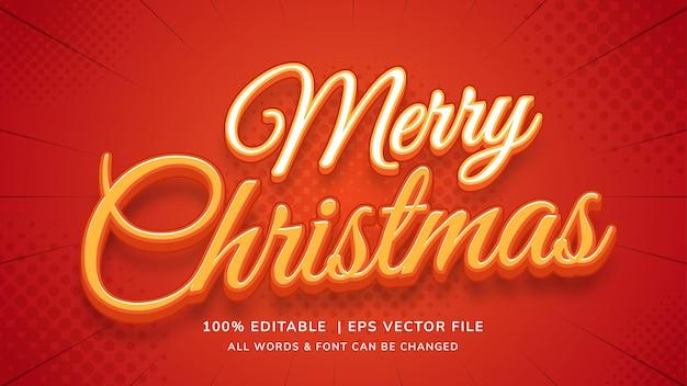 メリークリスマス編集可能な3dベクトルテキストスタイルの効果。編集可能なイラストレーターのテキストスタイル。