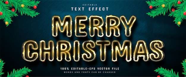 Merry christmas editable gold style text effect