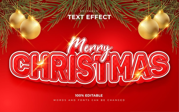 Merry christmas editable text effects style